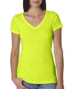 Neon Yellow Ladies Slub Crossover V-Neck Tee