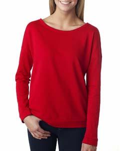 Red Ladies Terry Long-Sleeve Scoop Tee