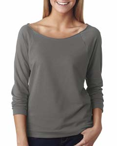 Warm Gray Ladies Terry Raw-Edge 3/4-Sleeve Raglan Tee