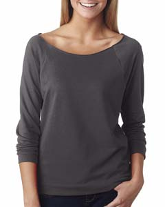 Dark Gray Ladies Terry Raw-Edge 3/4-Sleeve Raglan Tee