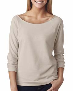 Sand Ladies Terry Raw-Edge 3/4-Sleeve Raglan Tee