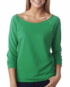 Envy Ladies Terry Raw-Edge 3/4-Sleeve Raglan Tee