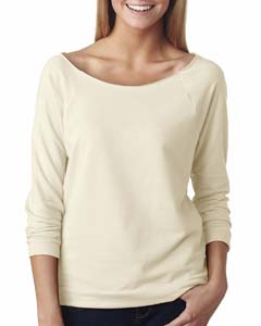 Ivory Ladies Terry Raw-Edge 3/4-Sleeve Raglan Tee