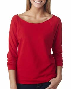 Red Ladies Terry Raw-Edge 3/4-Sleeve Raglan Tee