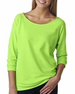 Neon Hthr Green Ladies Terry Raw-Edge 3/4-Sleeve Raglan Tee