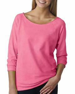 Neon Hthr Pink Ladies Terry Raw-Edge 3/4-Sleeve Raglan Tee