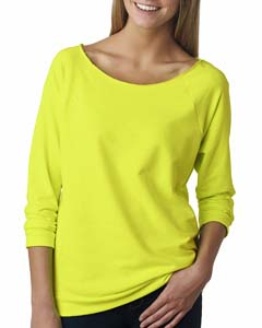 Neon Yellow Ladies Terry Raw-Edge 3/4-Sleeve Raglan Tee