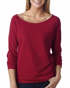 Scarlet Ladies Terry Raw-Edge 3/4-Sleeve Raglan Tee