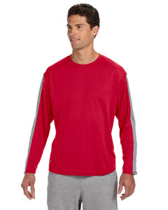 True Red/steel Long-Sleeve Performance T-Shirt