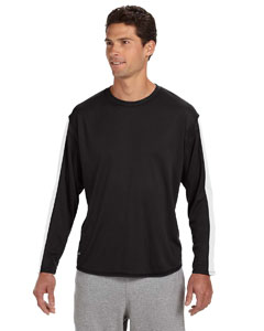 Black/white Long-Sleeve Performance T-Shirt