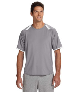 Steel/white Dri-Power® T-Shirt with Colorblock Inserts
