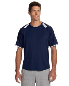 Navy/white Dri-Power® T-Shirt with Colorblock Inserts