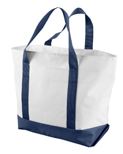 White/navy Bay View Giant Zippered Boat Tote