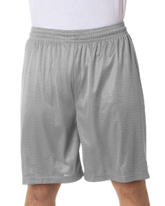 "Silver Adult Mesh/Tricot 9"" Shorts"