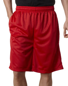 "Red Adult Mesh/Tricot 9"" Shorts with Pockets"