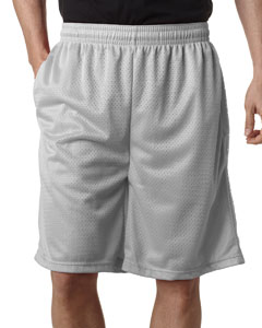 "Silver Adult Mesh/Tricot 9"" Shorts with Pockets"