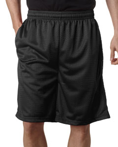 "Black Adult Mesh/Tricot 9"" Shorts with Pockets"