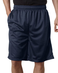 "Navy Adult Mesh/Tricot 9"" Shorts with Pockets"