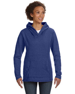 Heather Blue Women's Ringspun French Terry Crossneck Hooded Sweatshirt