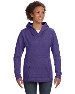 Heather Purple Women's Ringspun French Terry Crossneck Hooded Sweatshirt