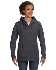 Hthr Dark Grey Women's Ringspun French Terry Crossneck Hooded Sweatshirt