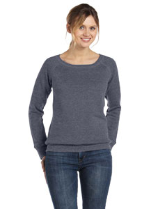 Deep Heather Women's Triblend Sponge Fleece Wide Neck Sweatshirt