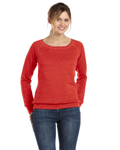 Red Women's Triblend Sponge Fleece Wide Neck Sweatshirt