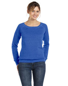 True Royal Women's Triblend Sponge Fleece Wide Neck Sweatshirt