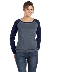 Dp Heather/navy Women's Triblend Sponge Fleece Wide Neck Sweatshirt