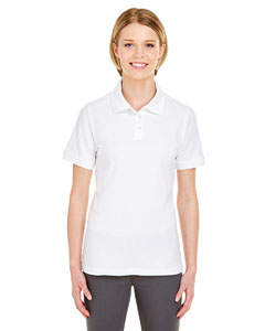 White Ladies' Platinum Honeycomb Pique Polo