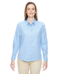Light Blue 708 Ladies' Align Wrinkle-Resistant Cotton Blend Dobby Vertical Striped Shirt