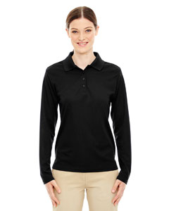 Black 703 Ladies' Pinnacle Performance Long-Sleeve Piqué Polo