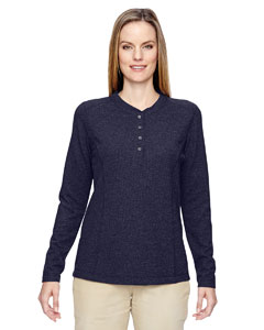 Navy 007 Ladies' Excursion Nomad Performance Waffle Henley