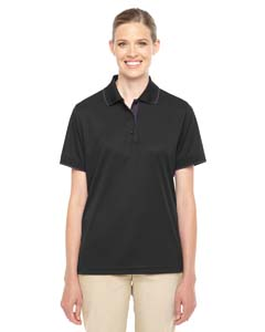 Black/ Carbon Ladies' Motive Performance Pique Polo with Tipped Collar