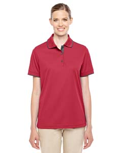 Cl Red/ Crbn 850 Ladies' Motive Performance Pique Polo with Tipped Collar