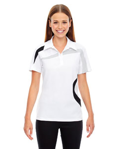White 701 Ladies' Impact Performance Polyester Piqué Colorblock PoloPe