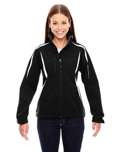 Black 703 Ladies' Enzo Colorblocked Three-Layer Fleece Bonded Soft Shell Jacket