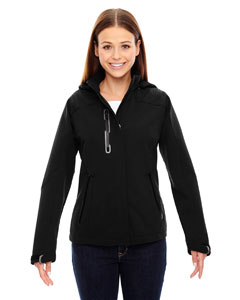 Black 703 Ladies' Axis Soft Shell Jacket with Print Graphic Accents