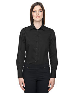 Black 703 Ladies' Boulevard Wrinkle-Free Two-Ply 80's Cotton Dobby Taped Shirt with Oxford Twill
