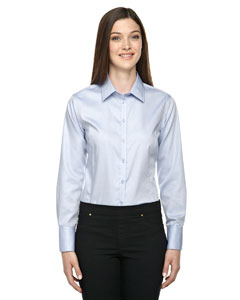 Cool Blue 808 Ladies' Boulevard Wrinkle-Free Two-Ply 80's Cotton Dobby Taped Shirt with Oxford Twill