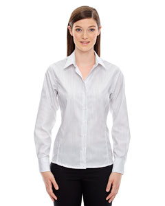 White 701 Ladies' Boardwalk Wrinkle-Free Two-Ply 80's Cotton Striped Tape Shirt
