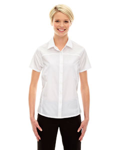 White 701 Ladies' Charge Recycled Polyester Performance Short-Sleeve Shirt