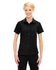 Black 703 Ladies' Charge Recycled Polyester Performance Short-Sleeve Shirt