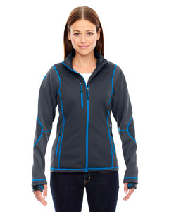 Carbn/oly Bl 466 Ladies' Pulse Textured Bonded Fleece Jacket with Print