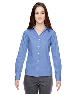 Ink Blue 460 Ladies' Precise Wrinkle-Free Two-Ply 80's Cotton Dobby Taped Shirt