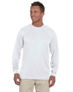 White 100% Polyester Moisture-Wicking Long-Sleeve T-Shirt