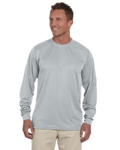 Silver Grey 100% Polyester Moisture-Wicking Long-Sleeve T-Shirt