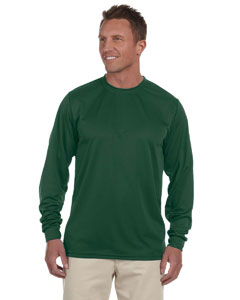 Dark Green 100% Polyester Moisture-Wicking Long-Sleeve T-Shirt