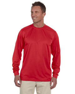 Red 100% Polyester Moisture-Wicking Long-Sleeve T-Shirt