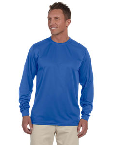 Royal 100% Polyester Moisture-Wicking Long-Sleeve T-Shirt